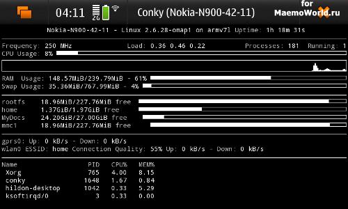 Утилита для Nokia N900 - Conky