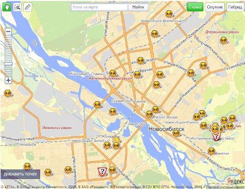 Предположительное расположение части сайтов LTE Yota