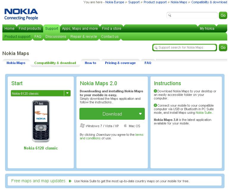 Мобильное приложение Nokia Maps (Карты Nokia) совместимо со мно