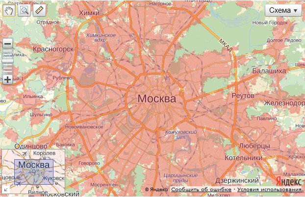 уверенном покрытии Москвы