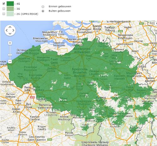 Покрытие Mobistar в Бельгии