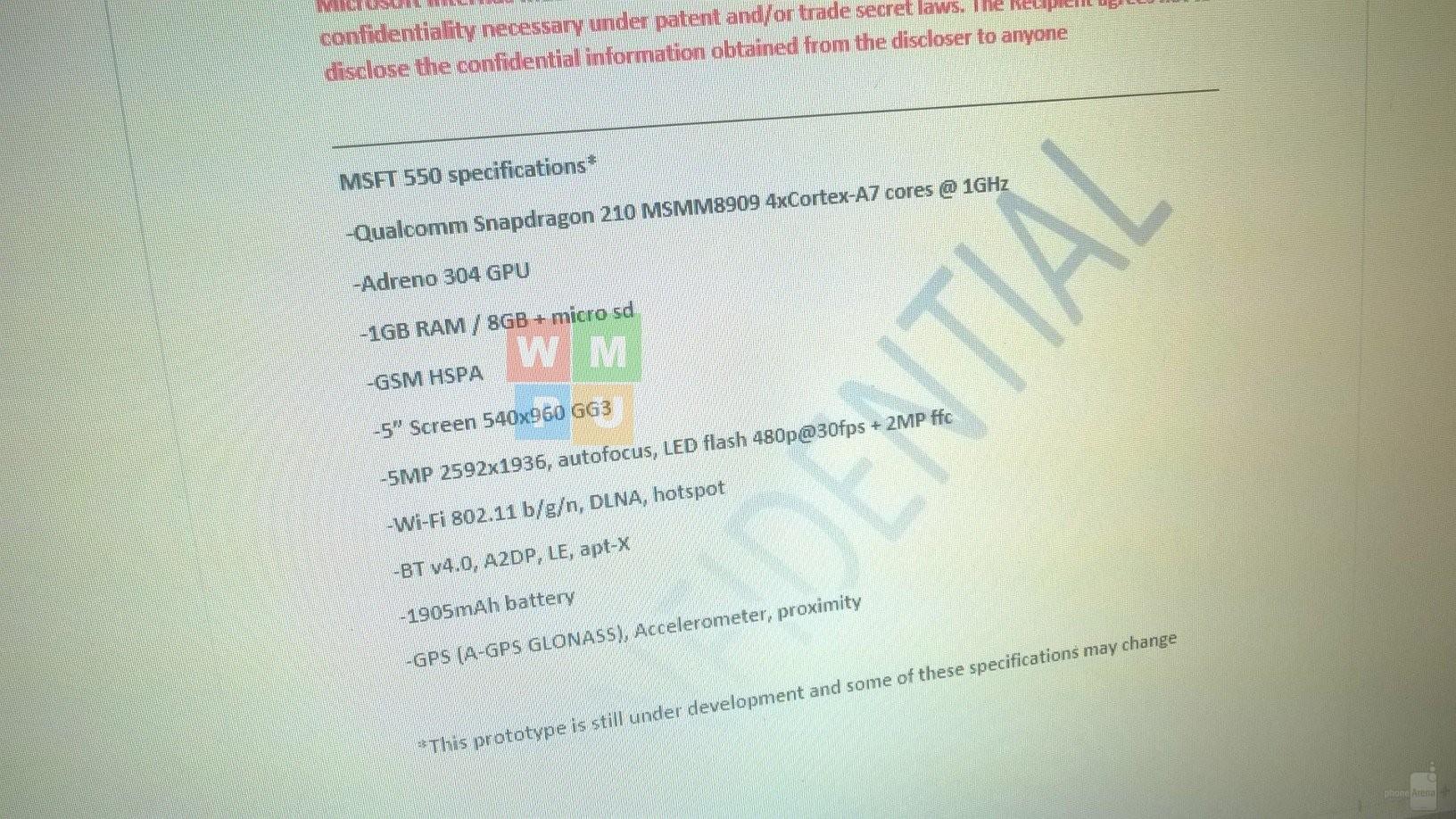 Слухи Спецификации Microsoft Lumia 550