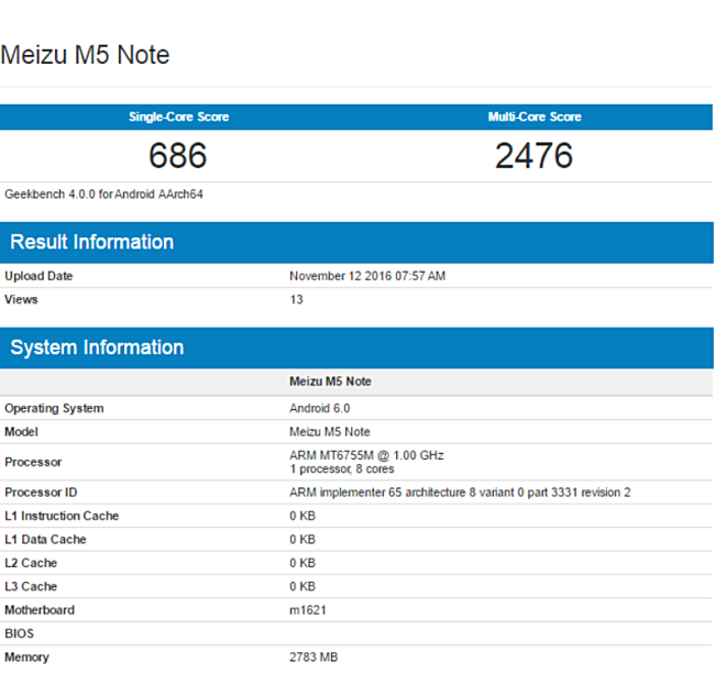 Meizu M5 Note с3 ГБ «оперативки» замечен вGeekbench