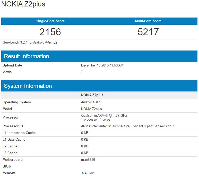 Нокиа Z2 Plus сSD820 протестирован вбенчмарке