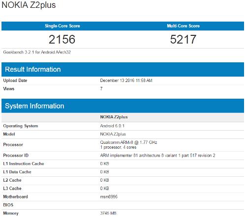 Слухи: Nokia Z2 Plus с 4 Гб ОЗУ замечена в Geekbench