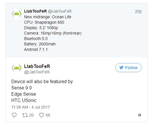 Слухи: HTC Ocean Life получит Snapdragon 660 и Edge Sense