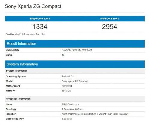 Слухи: Загадочный Sony Xperia ZG Compact снова засветился в Geekbench