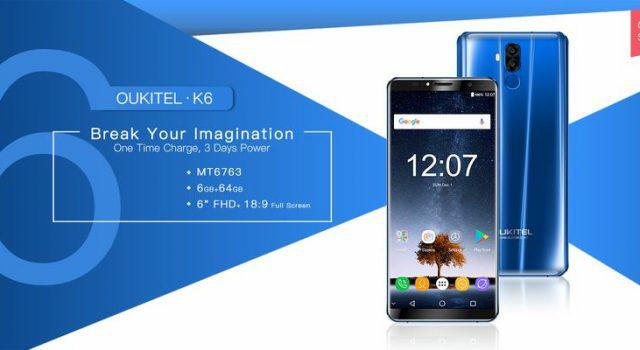 Oukitel K6 получил аккумулятор емкостью 6300 мАч иподдерживает быструю зарядку 5В/3А