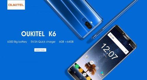 Анонсы: Oukitel K6 получил аккумулятор емкостью 6300 мАч и поддерживает быструю зарядку 5В/3А