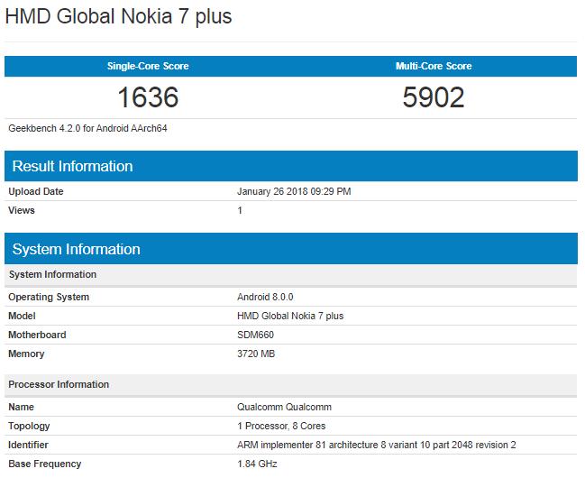 Слухи Nokia 7 Plus – 6-дюймовый полноэкранный дисплей и сдвоенная камера