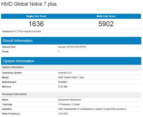 Слухи: Nokia 7 Plus – 6-дюймовый полноэкранный дисплей и сдвоенная камера