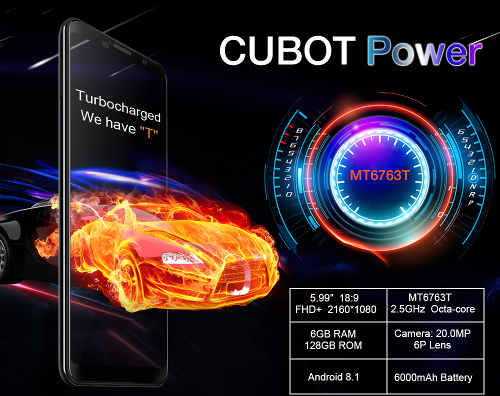 Анонсы: Cubot Power получил 6 Гб ОЗУ, 128 Гб памяти и АКБ 6000 мАч