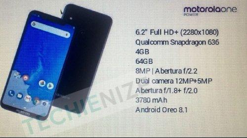 Слухи: Раскрыты спецификации Motorola One Power
