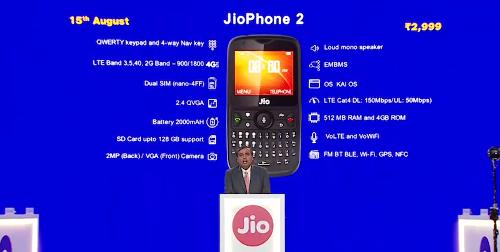 Анонсы: JioPhone 2 –QWERTY-фон с LTE