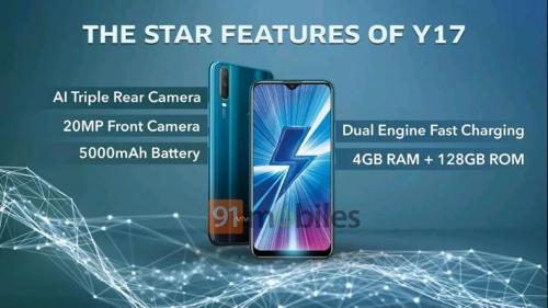 Слухи: Vivo Y17 получит 20 Мп сэлфи-камеру и аккумулятор 5000 мАч