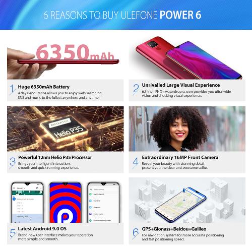 Анонсы: Ulefone Power 6 – недорогой смартфон с NFC и емким аккумулятором