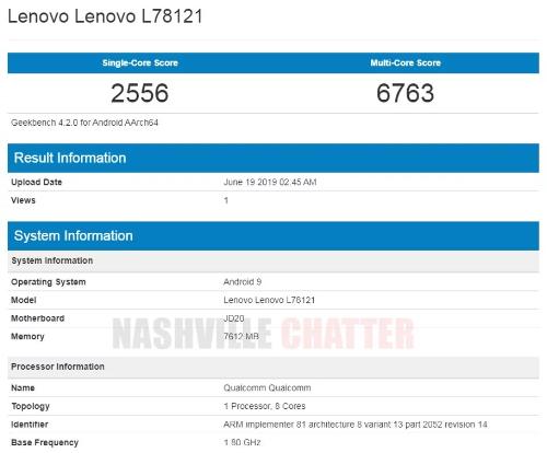 Слухи: Lenovo Z6 (L78121) со Snapdragon 730 замечен в Geekbench