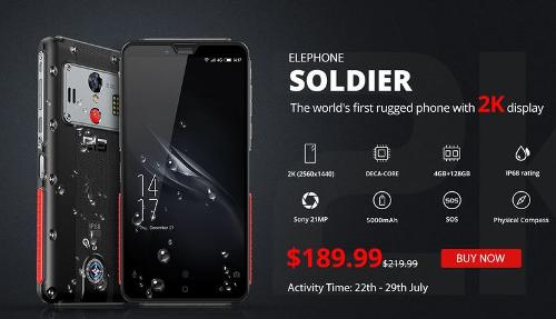 Анонсы: Elephone Soldier – защищенный смартфон с 2К-экраном