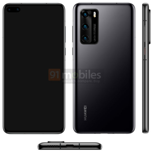 Слухи: Huawei P40 показался на рендерах