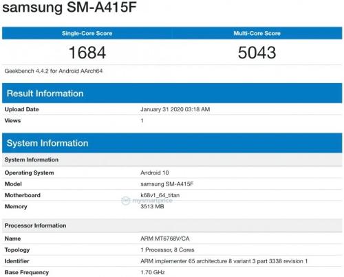 Слухи: Samsung Galaxy A41 на базе Helio P65 замечен в Geekbench