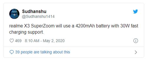 Слухи: Realme X3 получит АКБ 4200 мАч с быстрой зарядкой 30 Вт