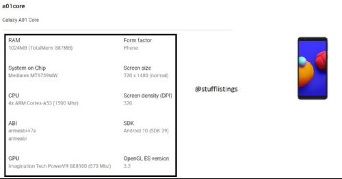 Слухи: Раскрыты спецификации Samsung Galaxy A01 Core