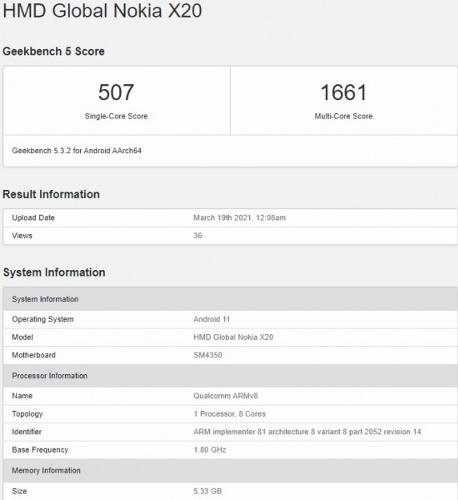 Слухи: Nokia X20 со Snapdragon 480 замечен в Geekbench