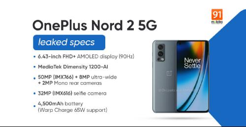 Слухи: Все данные о OnePlus Nord 2 5G раскрыты до анонса