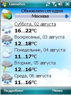 Программу погоды для телефонов